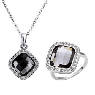 Alloy Gold Plated Black Rhinestone Crystal Silver Color Necklace and Ring Jewelry Sets: Jewelry
