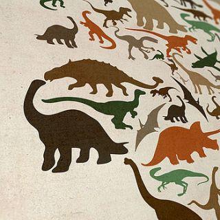 dinosaur world map art print by artpause