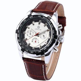 ORKINA Men's Chronograph Brown Leather Band Sport Quartz Wrist Watch ORK133 at  Men's Watch store.