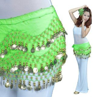 New design 53inch 128 Gold Coins belly dance hip scarf with beautiful Chiffon Apple Green,professional dance costume!: Health & Personal Care