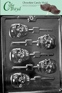 Cybrtrayd H121 Scary Skull Lolly Chocolate Candy Mold with Exclusive Cybrtrayd Copyrighted Chocolate Molding Instructions: Candy Making Molds: Kitchen & Dining