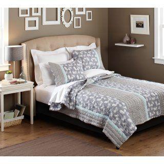 Pinzon 100 Percent Cotton Printed Full/Queen Quilt Set, Gray Gardenia   Bed Quilts