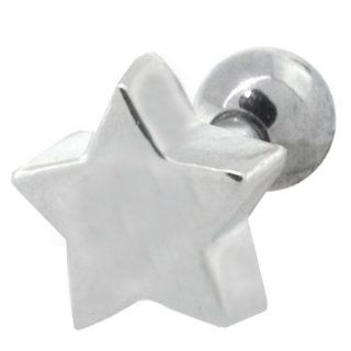 Cute Star Surgical Steel and 925 Sterling Silver Cartilage Piercing Earring Stud: FreshTrends: Jewelry