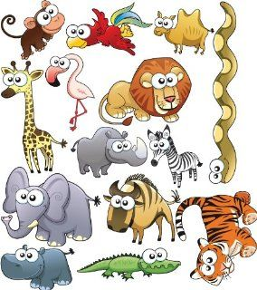 Big Eyed Jungle Animals Wall Stickers   Wall Decor