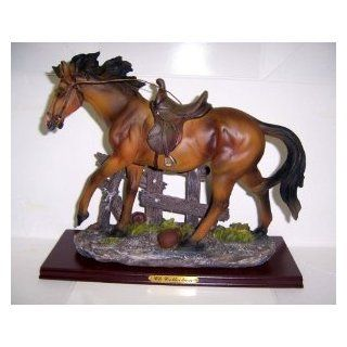 """Walking Horse Statue Figurine   Brown    9"""" X 10"""" X 4""""   Collectible Figurines"""
