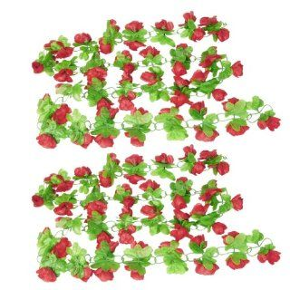 2 Pcs Red Apple Blossom Green Leaf Wall Decorative Hanging Vine 2.4M   Artificial Flowers