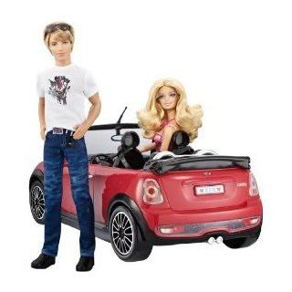 Toy / Game Barbie And Ken My Cool Mini Cooper Convertible With White Racing Stripes Is The Ultimate Guy's Ride: Toys & Games