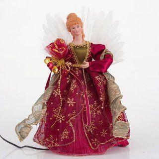 "12"" Elegant Pre lit Fiber Optic Burgundy Red & Gold Angel Christmas Tree Topper   Christmas Tree Topper Figurines"