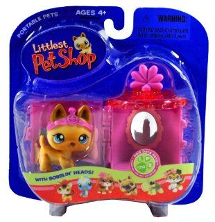 """Hasbro Year 2006 Littlest Pet Shop Portable Pets """"Dog Days Pets"""" Series Collectible Bobble Head Pet Figure Set #212   Brown German Shepherd Puppy Dog with Tiara and Vanity Carry Case (53594) Toys & Games"""