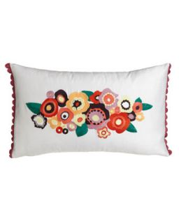 Pillow w/ Floral Embroidery, 12 x 20