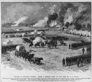 Battle of Savage's Station, troops in formation, horse drawn wagon, explosion, 1862   Prints