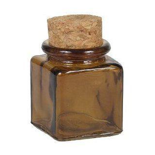 Amber Square Recycled Glass Decorative Jar Mini   Decorative Bottles