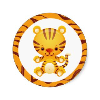 Cartoon Tiger with Tiger Print Stickers