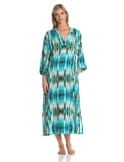 N Natori Women's Amihan Caftan, Deep Sea, X Small at  Women�s Clothing store: Bathrobes