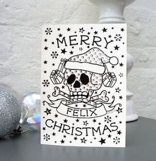 personalised skull christmas card by spdesign