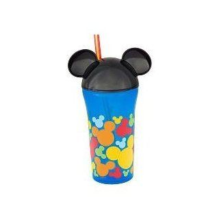 Disney Mickey Mouse Head Cup with Straw   Blue & Black with Colorful Mickey Heads on the Bottom Toys & Games