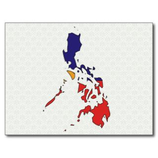 Philippines Flag Map full size Postcard