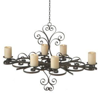 "36"" Exquisite Antique Style Scrolled Hanging Pillar Candle Holder Chandelier"