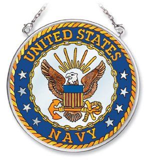 Amia Hand Painted Glass Suncatcher with United States Navy Logo, 3 1/2 Inch Circle