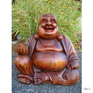 gigantischer massiver Happy Buddha aus Holz 40 cm Skulptur Figur Dekoration Feng shui Figuren Küche & Haushalt