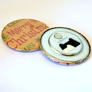 christmas magnetic bottle opener by grace & favour home