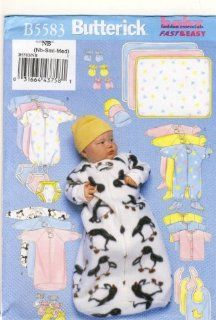 Butterick Sewing Pattern 5583   Use to Make   Infants Bunting, Jumpsuit, Shirt, Diaper Cover, Hat, Bib, Mittens, Booties, Blanket   Sizes Newborn, S and M