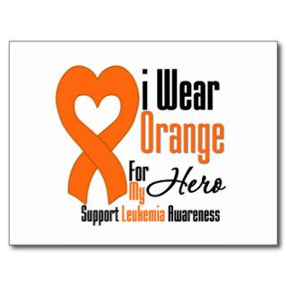 Leukemia I Wear Orange Ribbon For My Hero Postcard