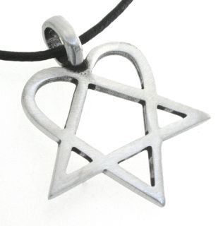Pewter Heartagram HIM Pentagram and Heart Pendant on Leather Necklace: Jewelry