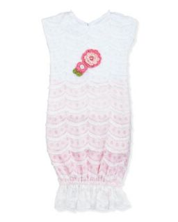 Sugar Babies Knit Sack Dress, White, 0 3 Months