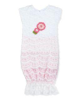 Sugar Babies Knit Sack Dress, White, 0 3 Months