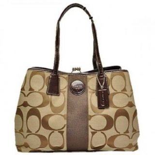 Coach Signature Kiss Cross Frame Carryall Bag Purse Tote Khaki Mahogany Clothing
