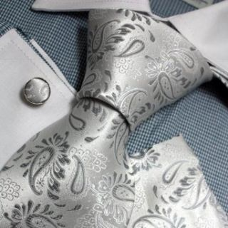 Grey Patterned Woven Silk Tie Handkerchiefs Cufflinks Present Box Set silver christmas gift Pointe Tie PH1092 One Size Silver at  Men�s Clothing store Neckties