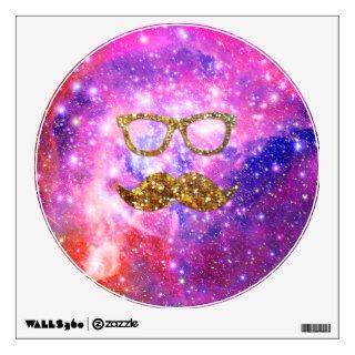 Gold Glitter Mustache Hipster Glasses Pink Nebula Wall Decal
