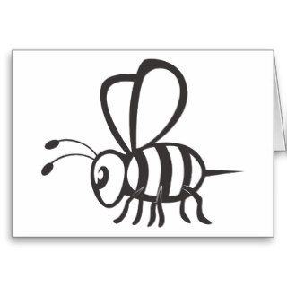 Cool Bee Black Outline Logo Tattoo Shirt Card