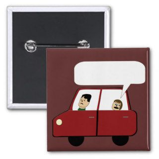 Kid in Car Cartoon Pin