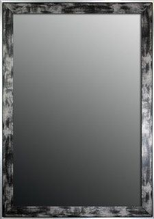 Shop Apple Valley Scratched Wash Black/Silver Trim Framed Wall Mirror, 16 Inch by 34 Inch at the  Home D�cor Store