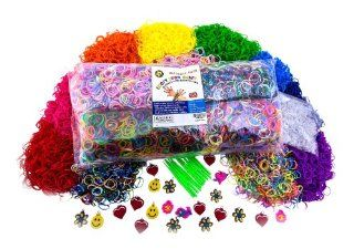 Ultimate Refill Loom Band Kit with 10, 000 Rainbow Colored Bands, 1000 S clips, 10 Loom Hooks, 50 Loom Charms. Includes Looming Made Easy Guide for Tips and Rubber Band Bracelet Patterns Ideas!