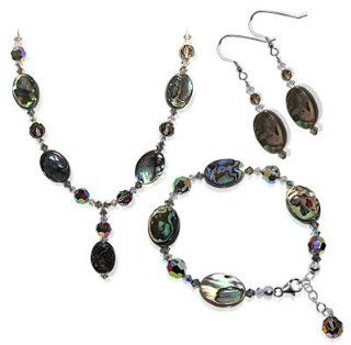 "Silver Abalone and Crystal Earrings Bracelet with 24"" Necklace Jewelry Set Made with Swarovski Elements: Jewelry"
