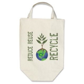 Reuse Reduce Recycle Tree Earth Globe Bags