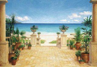 1art1 40570 Terrassen   Terrasse Am Strand 8 teilig, Fototapete Poster Tapete (368 x 254 cm) Baumarkt
