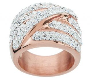 Steel by Design 18K Rose Gold Electroplated Highway Crystal Wrap Ring —
