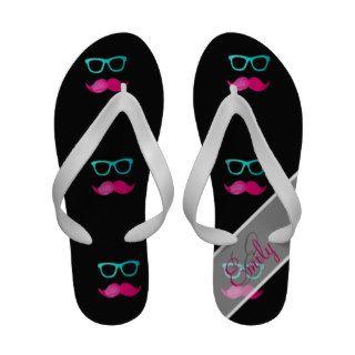 Monogram Funny Pink mustache teal hipster glasses Flip Flops