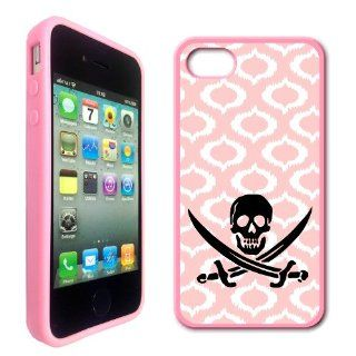 Jolly Roger Pirate Baby Pink Ikat Hipster Pink Silicon Bumper iPhone 4 Case Fits iPhone 4 & iPhone 4S: Cell Phones & Accessories