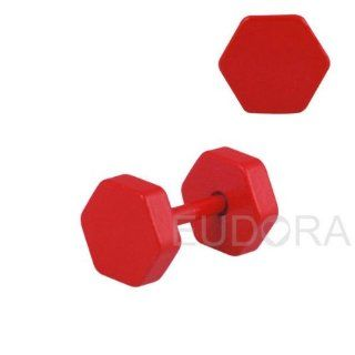 Red 2pcs 18g MAN Earrings Surgical Steel Fake Piercing Plug Tunnels Earlets Fr326 Health & Personal Care