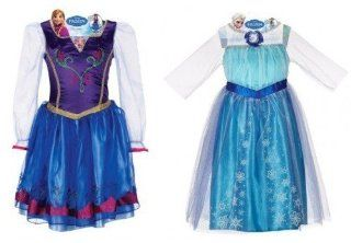 Disney Frozen Anna and Elsa Dress Bundle, Includes Bonus Elsa+anna Tiara with Jewelry Set: Toys & Games