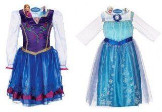 Disney Frozen Anna and Elsa Dress Bundle, Includes Bonus Elsa+anna Tiara with Jewelry Set: Toys & Games