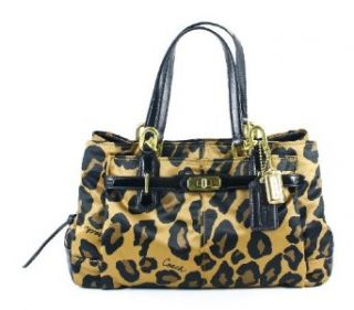 Coach Limited Edition Ocelot Leopard Animal Print Sateen Jayden Satchel Bag Purse Brown Shoes