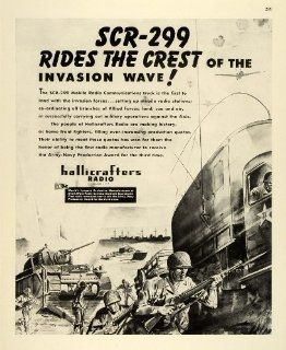 1943 Ad SCR 299 Hallicrafters Radio Communications Mobile Tank World War II Gun   Original Print Ad