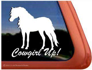 Cowgirl Up ~ Shetland Pony Horse Trailer Vinyl Window Decal Sticker Automotive