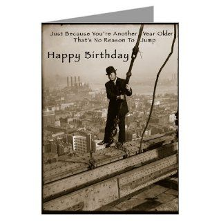 Single Large Vintage Birthday Card Of Man On A Ledge : Greeting Cards : Office Products
